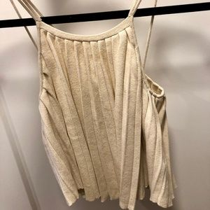 Beige Strappy Pleated Crop Top